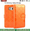 2015 new Fashion Lattice Pattern Flip Case Cover Leather Wallet Bag Design for samsung galaxy S6 edge G925