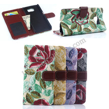 Flower style flip cover for Samsung Galaxy S6 with card slots