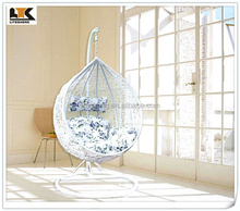 synthetic hanging rattan egg chair with seat cushion