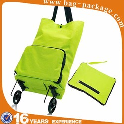 Folding shopping bag with wheels nylon foldable shopping trolley bag