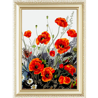 Poppy flower designs fabric painting by numbers kits 40*50cm