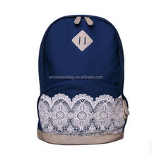 Fashion Designer Fresh Style Canvas With Lace Flower Decorated School Backpack Rucksack Knapsack For Teen Girls