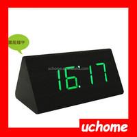 UCHOME Modern creative triangle LED Sound sensor decorative wooden desk table digital alarm clock/Wooden alarm clock