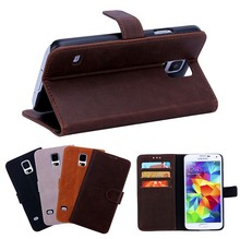 crazy horse pattern flip leather case for samsung S5 with credit card slot and stand.