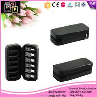 fashion luxury black new leather nail polish storage case