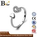Jóia da forma barata tamanho ajustável em forma de coração 925 anel de prata