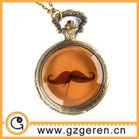 D01235o Dark brown glass cover beard pattern vintage erotic pocket watches