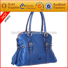 Hot sale blue luxury leather woman handbag fashion imported handbags china