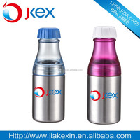 2015 hot sale two sections plastic water bottle soda bottle with stainless steel body