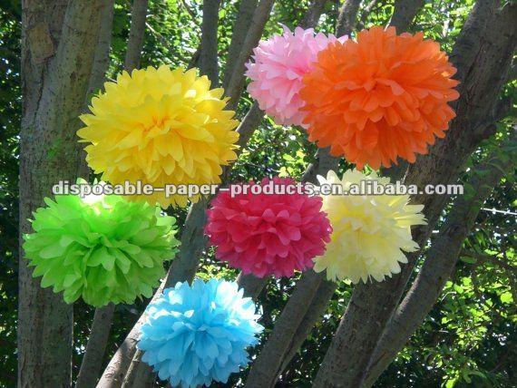 Decorações da festa de aniversário lenço de papel Pom Pom flores florescem grande