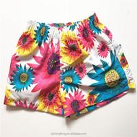 Summer 100% polyester beach pants for men sunflower pattern beach shorts
