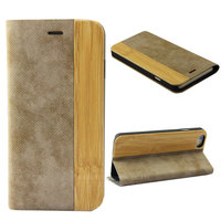 Retro bamboo wood case cover for iphone 6 PU leather