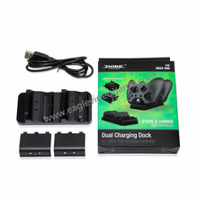 Dual Charge Dock for Xbox One Controller With 2 Rechargeable Batteries Power Black