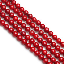 Wholesale natural red coral gemstone loose 8mm beads for coral necklace