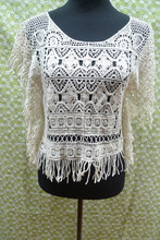 hot sale summer newest lady's lace blouse ,crochet lace blouse