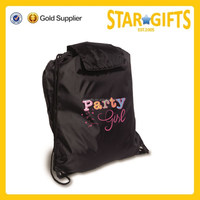 Promotional cheap 210D polyester drawstring sports bag with top flap
