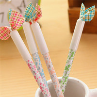 2016 New Design School Supplier Wholesale Stationery for Kids Fabric Cloth Bowknot Fancy Cute Pen