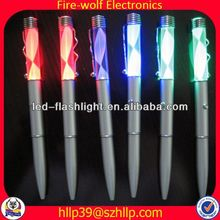 2014 China Supplier New Style Colourful Led Flashing magnifying glass ball pen