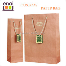 kraft paper colored recycle reusable shopping paper bag with printed LOGO or pattern for brand