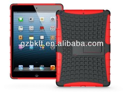 Hybrid tire kickstand case for ipad air , heavy duty armor case for ipad 5 with stand