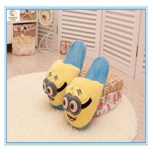 Despicable me 2 kids soft toy minion slippers and plush minion shoes