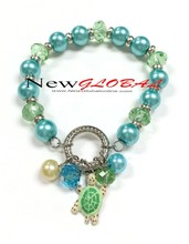 Hand Painted Sea world Star Fish Charm with Turtle, Seastar, Dolphin and Shell Beaded Stretch Bracelet
