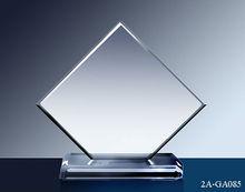 Modificado para requisitos particulares cristal claro venta al por mayor de corte de la esquina placa del premio trofeo