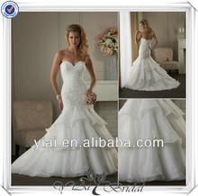 Qq740 frisada corpete em camadas de organza saia feitos por encomenda vestidos de casamento china