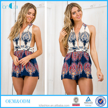 Hot sexy backless halter playsuit Oriental printed summer clothing for Australian women