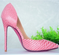 cute pink color snake python skin women high heel shoes fashion side open sexy party high heels wholesale shoes