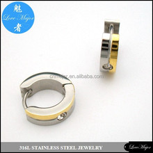 two tone gold stainless steel earrings of fashion jewelry huggies with rhinestone