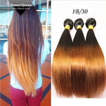 Sunny Queen Cheap 6A Peruvian Virgin Human Hair Weaves Ombre Hair Extensions Straight Two Tone 1b/30 3pcs lot
