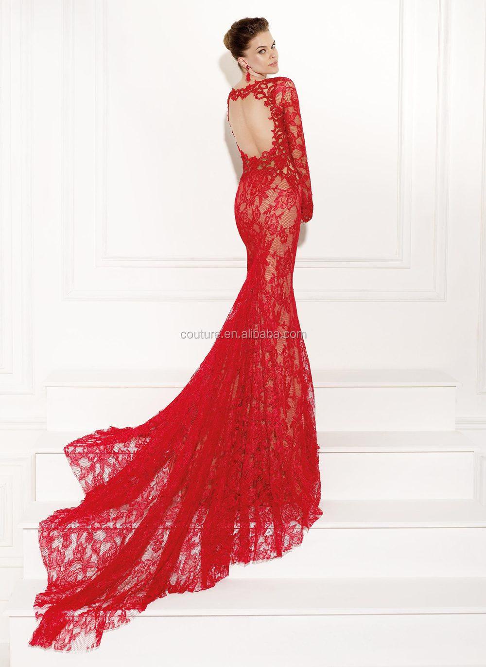 2014 mode robes Scoop cou à manches longues rouge dentelle corsage Custom Made 2015 Tarik Ediz