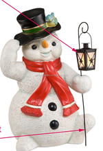 Resin/Polyresin figurines,3D figurines, lovely home decor christmas snowman with LED lantern