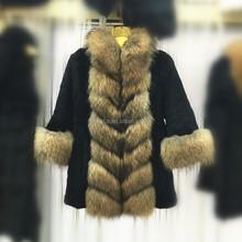 popular rabbit fur coat with fur trim