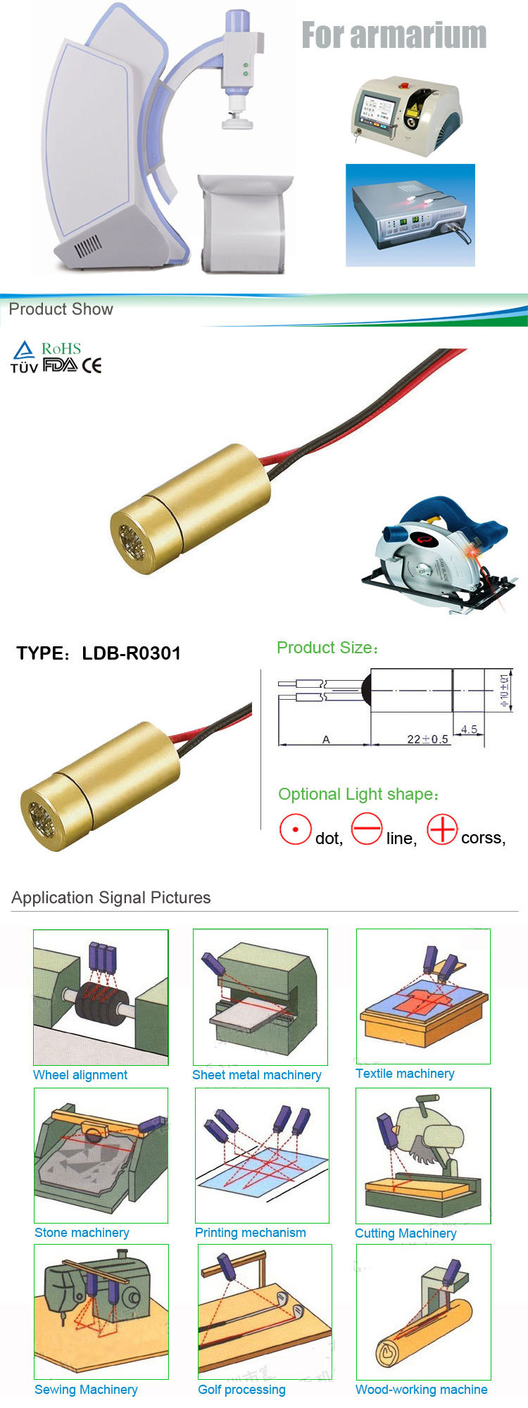 Industrial 5mw line 635nm to 650nm portable diode laser