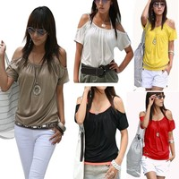 Sexy Women's Girl Japan Style Hollow Shoulder sexy neck design of blouse Tops SV004118