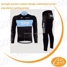 NB GOLDMORE spring& autumn custom design sublimation print long sleeve cycling jersey & pant, long sleeve cycling cloth