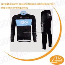 Sky team OEM custom sublimation print long sleeve cycling jersey & pant, Long sleeve cycling clothing set manufacturer