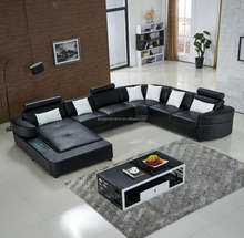 2015 hot sell genuine leather real leather sofa set