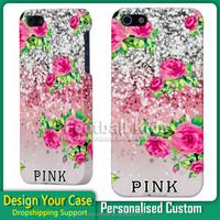 Luxury glitter sparkle Pink design Custom printing mobile phone case for iphone 5 5s best quality