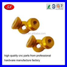 custom cnc turning parts yellow oxidation Aluminum nut and bolt carbon steel /brass nut screw