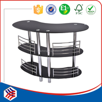 2015 new chrome metal tube and great black tempered glass bar table