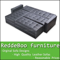 double wide chaise sofa lounge , pu leather sofa bed with storage ottoman 8020