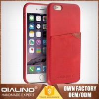QIALINO Quality Guaranteed Cow Leather Smart Window View Case For Apple For Iphone 6S