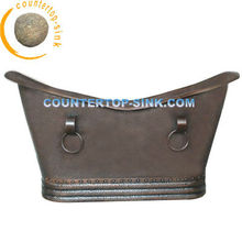 Hammered Copper Bathtub Double Slipper with Rings