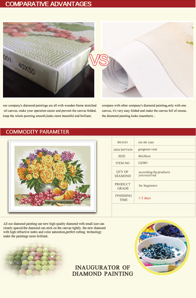 GZ294 still life flower diamond embroidery kits for home decor