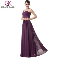 Grace Karin Ladies Sexy Strapless Sweetheart Chiffon Purple Cheap Tall Mother of The Bride Dresses 2015 CL6273