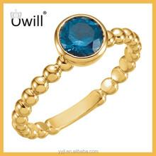 18k Gold Plated Beaded Design Single Blue Gemstone Rings Gold Bezel Rings For Women China Supplier