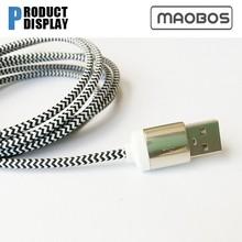 Black & White Fabric Cable | Striped Flex | 3 Core Round Cable